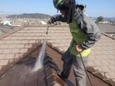 屋根洗浄中