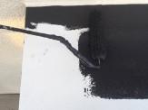庇中塗り作業